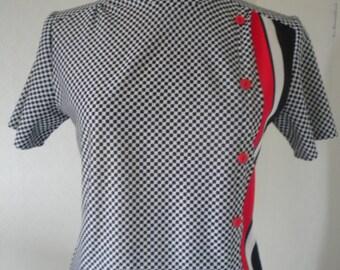 Fun plaid black white and red vintage dress