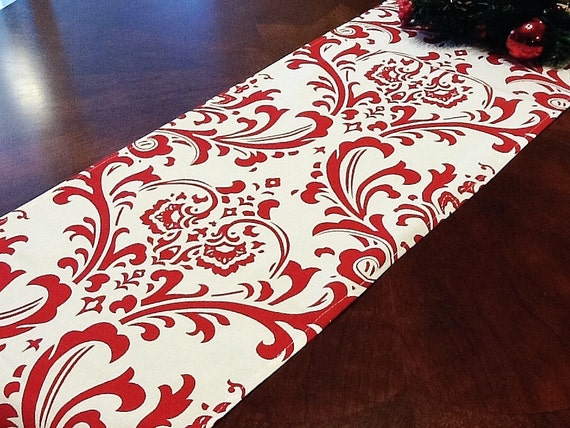 Table Runner - White and Red Damask Table Runners - Damask Table Runners For Weddings or Home Decor - Select A Size