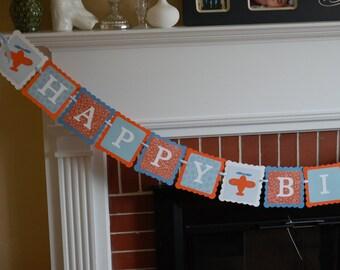 Airplane Happy Birthday Banner, Take Flight, Airplane Party, Airplane Birthday Party, Orange, Blue and White