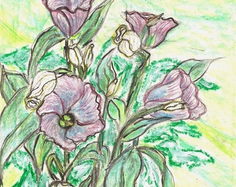 Bell Flowers Painting Original Watercolor Painting Mixed Media Pencil / Acrylic Painting