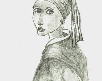Girl with Pearl Earring Original Art Study Pencil Drawing after Jan Vermeer