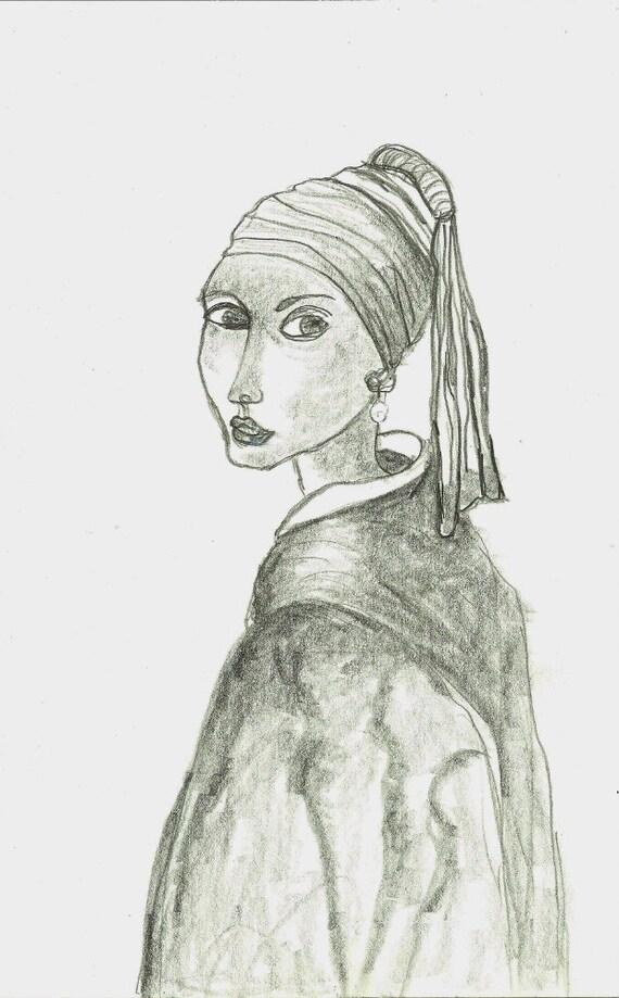 Fille avec des boucle doreille perle originale Art tude