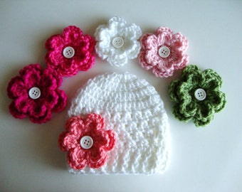 Baby Girl Crochet Hat/Beanie, Baby Hat, Girl Hat, Newborn Hat, Photo Prop, Hat with 5 Flowers
