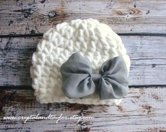 Baby Hat,  Baby Girl Hat, White and Gray Baby Crochet Hat, Photo Prop, Hat with Bow