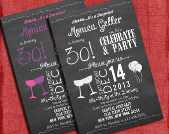 Printable Surprise 30th, 40th, 50th Birthday Party Wine Invitation- You choose colors