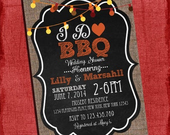 "Fall Autumn Style  ""I Do"" BBQ Barbecue Couples/Coed Wedding Shower Invitation- I Design, You Print"