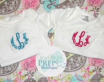 Set of 2 CUSTOM MONOGRAM ONESIES