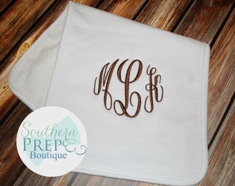 Monogrammed Plain Burp Cloth - Girls Burp Cloth