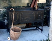 Antique Solid Wood Black Buffet hand  painted with chalk paint, Sideboard, Credenza with Gold Trim, Distressed, Cottage Style - furnitologist