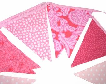 Pretty Pink Flag Bunting for Girls.  HANDMADE . Wall hanging, Birthday Party Banner, Market Stall Decoration . GIFT IDEA
