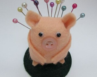 Percy the Pig-cushion - Felt Pincushion Animal