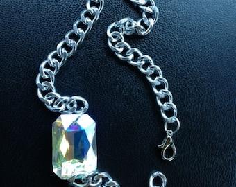 Double Wrap LARGE Jeweled Silver Bracelet