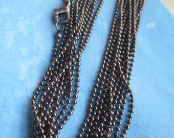 12pc 20 inch gunmetal plated shiny facet ball chain necklace