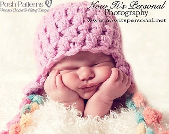 Crochet PATTERNS - PDF Crochet Patterns - Earflap Hat - Crochet Pattern Baby - Crochet Pattern Hat - Includes 3 Sizes - Photo Prop - PDF 236