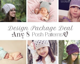 Knitting Patterns - Crochet Patterns - Discount Design Pattern Package - Choose ANY 8 - Crochet Patterns Baby - Knitting Patterns for Kids