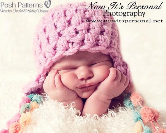 Crochet PATTERNS - PDF Crochet Patterns - Earflap Hat - Crochet Pattern Baby - Crochet Pattern Hat - Includes 3 Sizes - Photo Prop - PDF 236