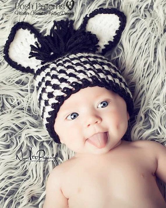 Crochet PATTERN - Crochet Hat Pattern - Baby Zebra Beanie - PDF 158 - Includes 3 Sizes - Photo Prop Pattern