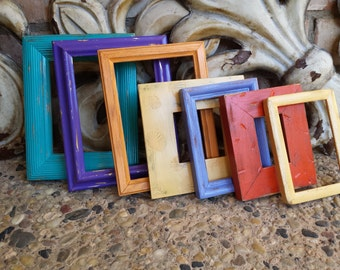 Vintage Frames, Open Frame Collection, Distressed Painted Frames, Orange Green Frames, Funky Home Decor Bright Frames Upcycled