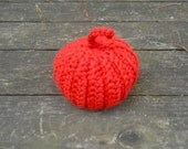 Red chunky crochet pumpkin,  handmade crochet home decor, bright red decoration for Thanksgiving , READY TO SHIP