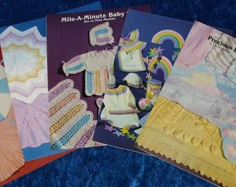 Lot 5 Knit & Crochet BABY PATTERN BOOKS! Round Blankets~Mile A Minute~Rainbow~Bonnets~Booties~Bibs~Dresses~Mobile~Shower Gift Ideas! Look