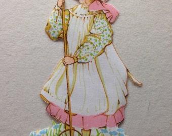 Vintage Holly Hobbie Iron On Applique Quilt Block - American Greetings Fabric - OOP
