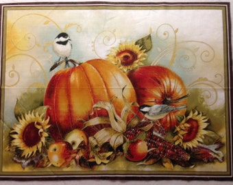 Joyful Harvest by Sandy Lynam Clough - Red Rooster Fabric Panel