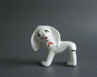 Vintage Sad Dog Figurine -- China Dog - Mid Century Dog Figurine - Pluto - Hound Dog - Mixed Breed Dog - Sad Expression - Loveable Dog