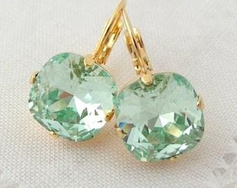 Mint earrings,Swarovski crystal drop earrings,mint sea foam Rhinestone dangle earrings, Bridal earrings, Bridesmaid earrings, 14k gold plate