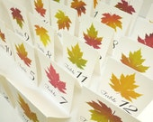 Wedding Table Numbers, Autumn Leaf Table Numbers. Vintage Table Tent Cards, Vintage Botanical Illustrations, Assorted Fall Colors