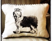 "shabby chic, feed sack, french country, vintage sheep dog graphic with ticking stripe  welting 12"" x 16"" pillow sham."