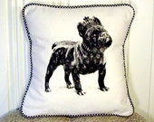 "shabby chic, feed sack, french country, vintage French Bulldog with gingham  welting 14"" x 14"" pillow sham."