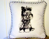 "shabby chic, feed sack, french country, vintage Yorkie graphic with crown and  french ticking welting 14"" x 14"" pillow sham."