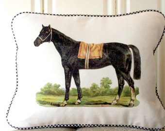 "shabby chic, feed sack, french country, vintage horse graphic with gingham welting 12"" x 16"" pillow sham."