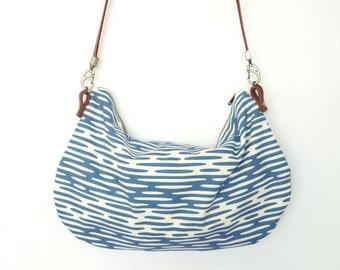 Satchel Shoulder Purse - Organic Screen Printed Blue