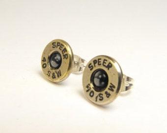 Bullet earrings Snowflake Obsidian and nickel plated brass post earrings 40 caliber