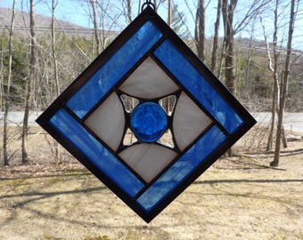Stained Glass Suncatcher in Blue and White