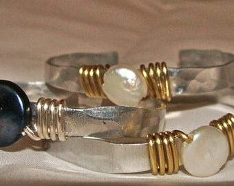 Coin Pearl Wire Wrapped Cuff Bracelet
