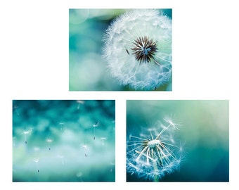 Bedroom wall decor set of 3 prints dandelion wall art dandelion photography nature botanical prints teal home decor blue green nature