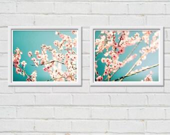 botanical print set floral wall art blossom photography nature 8x10 8x12 set of two fine art photography flower teal art prints pastel decor