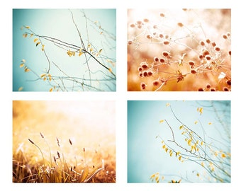 nature photography print set autumn photography fall 8x10 11x14 fine art photography floral botanical art prints golden aqua rust wall decor