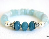Stretch bracelet, aquamarine, chalcedony, blue, stone, sterling silver beads, pewter bead caps, gift - HollyMackDesigns