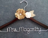 BURLAP Bridal Hanger - Rustic Wedding Hanger - Mrs Hanger - Custom Wire Hanger - Barn Wedding - Personalized Name Hanger - Bride Hanger