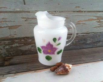 Retro Frosted Gay Fad Glass Pitcher - Vintage Heavy Hand-Painted Drink Container, Party Drink Serving, Juice Pitcher, Floral Glass + Barware