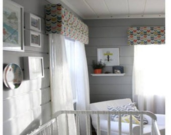 Custom Nursery Window Cornice - You Choose the Colors