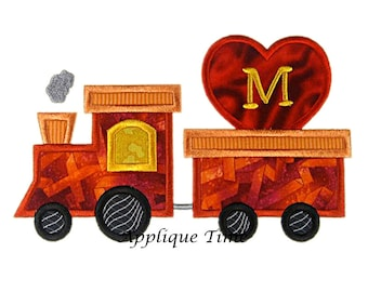 Instant Download Valentine Train Machine Embroidery Applique Design 4x4, 5x7 and 6x10