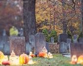 Halloween photography autumn fall spooky cemetery bokeh pumpkins mason jar grey orange gold green fairy lights large wall art fine art photo