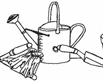 Garden Tools Embroidery Design - Instant Download