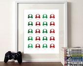 Mario, mushrooms poster, video game poster, metallic foil print, gaming poster, game icons, Mario illustration, 1 up mushroom