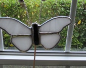 White Opalescent Glass Butterfly - Stained Glass 5 Piece- Garden - Potted Plant Stake/Memorial Marker