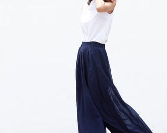 On Sale Size M Fairy Casual Chiffon Wide leg Long Skirt Pants in Navy Blue - NC460-3